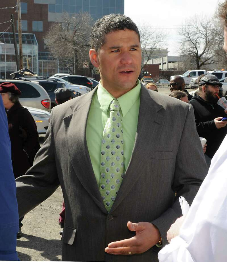 City Council President Rodney Wiltshire talks to reporters after he officially announces he is running for mayor Wednesday, March 25, 2015 in Troy, N.Y.  (Lori Van Buren / Times Union) Photo: Lori Van Buren / 00031152A
