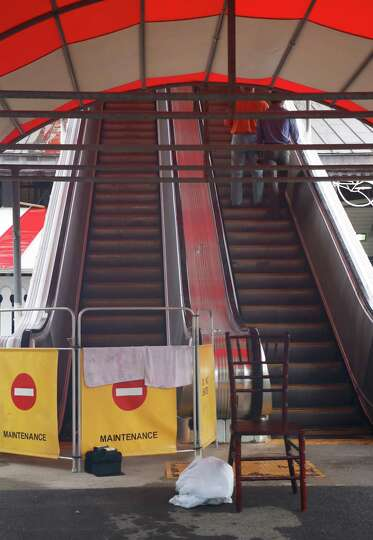 The clubhouse escalator is out of commission at the Saratoga Race Course on Thursday, July 30, 2015,