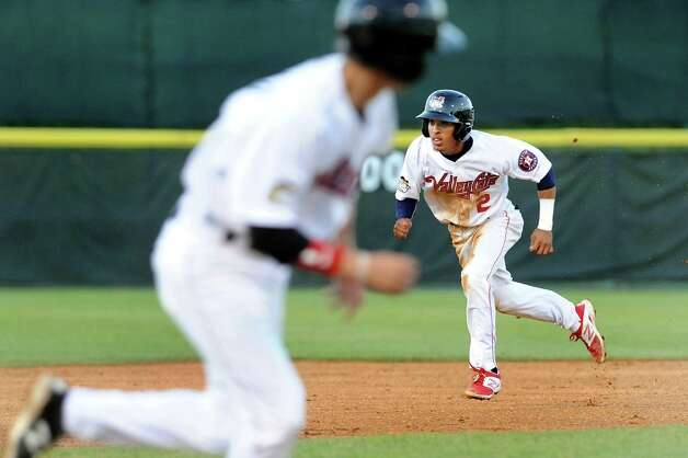 ValleyCats' Antonio Nunez, right, runs the bases during their baseball game against the Black Bears on Thursday, July 30, 2015, at the Joe Bruno Stadium in Troy, N.Y. (Cindy Schultz / Times Union) Photo: Cindy Schultz / 00032766A