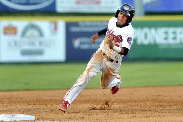 ValleyCats' Antonio Nunez rounds third during their baseball game against the Black Bears on Thursday, July 30, 2015, at the Joe Bruno Stadium in Troy, N.Y. (Cindy Schultz / Times Union) Photo: Cindy Schultz / 00032766A