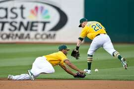 OAKLAND, CA - JULY 30:  Marcus Semien #10 of the Oakland Athletics and Eric Sogard #28 are unable to field a ground ball hit off the bat of Francisco Lindor (not pictured) of the Cleveland Indians for a single during the first inning at O.co Coliseum on July 30, 2015 in Oakland, California. (Photo by Jason O. Watson/Getty Images)