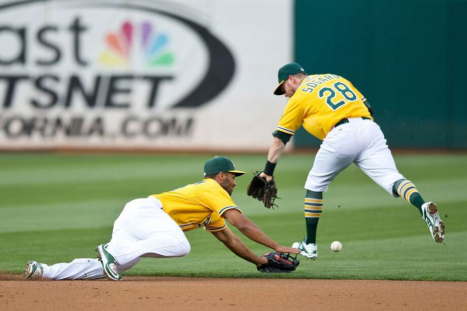 Neither Marcus Semien (left) nor Eric Sogard can field Francisco Lindor's single in the first, one of four straight Cleveland hits. Photo: Jason O. Watson, Getty Images