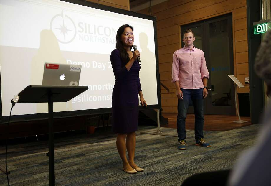Mary Grove, with her husband Steve, greet the audience at Silicon North Star's Demo Day in San Francisco, Calif., on Thursday, July 30, 2015. Photo: Scott Strazzante, The Chronicle