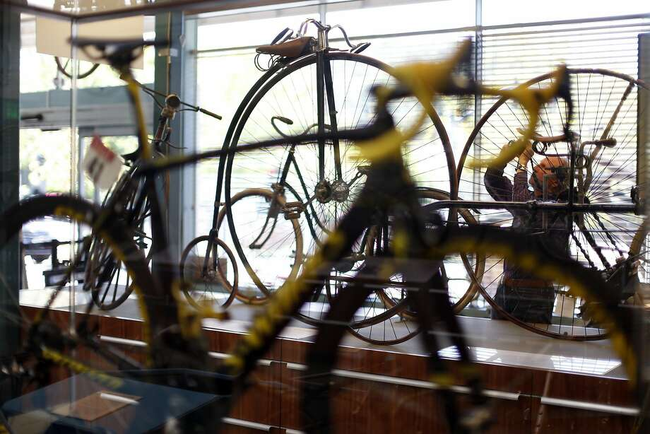Robert van der Pals takes photos of vintage bicycles at the Marin Museum of Bicycling in Fairfax on July 27. Photo: Scott Strazzante, The Chronicle