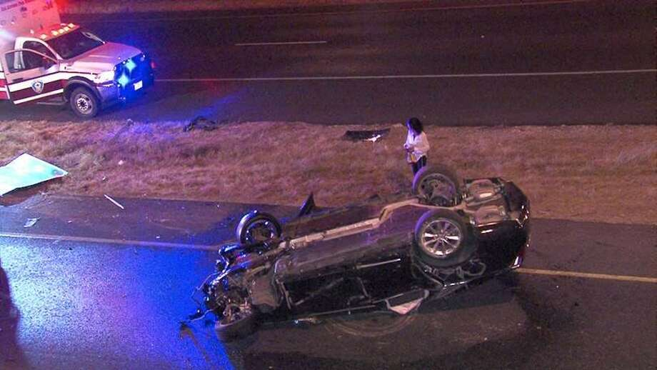 A man was critically injured in an overnight rollover crash July 31 on Loop 1604. Photo: Courtesy Photo/Ken Branca