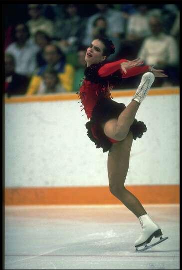 1988 German figure skater  Katarina Witt  competes during the Calgary    Katarina Witt 1988 Olympics
