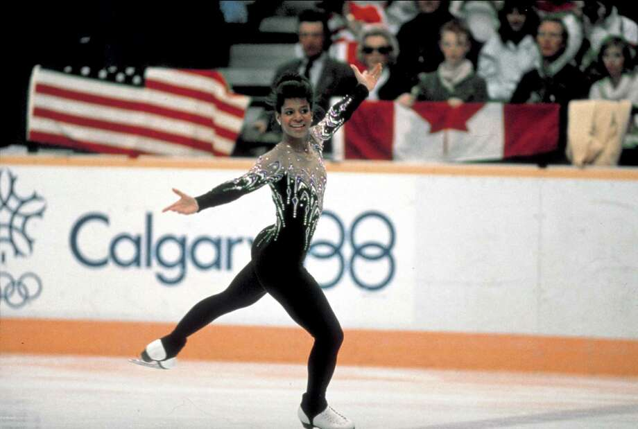 Figure skater Debi Thomas competing in unident. event at 1988 Winter Olympics. Photo: Ronald C. Modra, Getty Images / Ronald C. Modra
