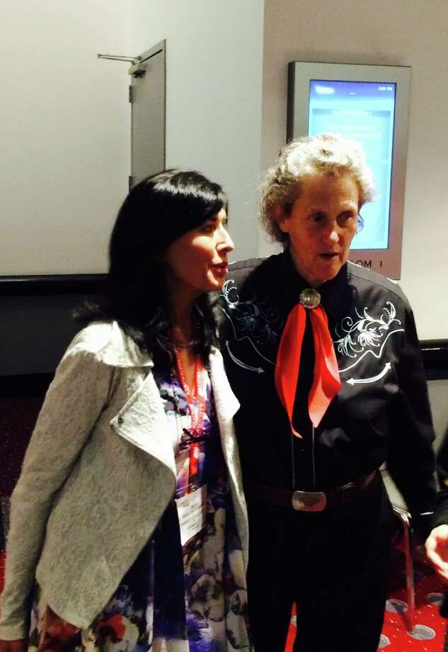 Brita Darany von Regensburg, president of the Friends of Autistic People, based lin Greenwich, left, meets with Dr. Temple Grandin, a leader in the field of autism, at a recent conference in Denver. Photo: Contributed Photo / Hearst Media / Connecticut Post