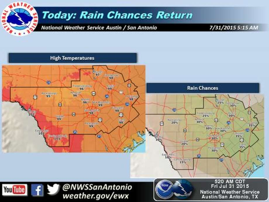 The South Central Texas region, including San Antonio and Austin, will see low chances of showers and thunderstorms this weekend as high temperatures reach 100 degrees, according to the National Weather Service. Photo: National Weather Service