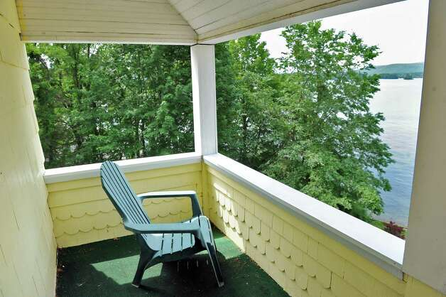 Private porch off the master bedroom on the second floor of Mike Chrys' house on the shores of Lake George Friday June 12, 2015 in Bolton Landing, NY.   (John Carl D'Annibale / Times Union) Photo: John Carl D'Annibale / 00032208A