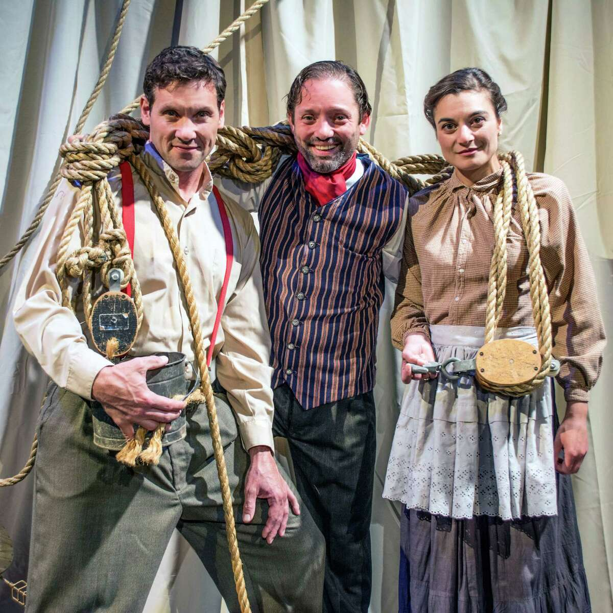 From left: Tim Dugan, David Girard and Jennifer Scapetis-Tycer in ?Shipwrecked? at Saratoga Shakespeare Company. (SSC publicity photo)