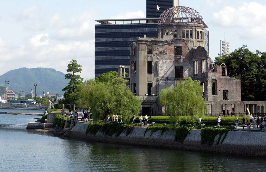 The Atomic Bomb Dome, which survived the 1945 atomic bombing on Hiroshima, is within walking distance of Peace Memorial Park. Photo: Koichi Kamoshida / Getty Images / 2002 Getty Images