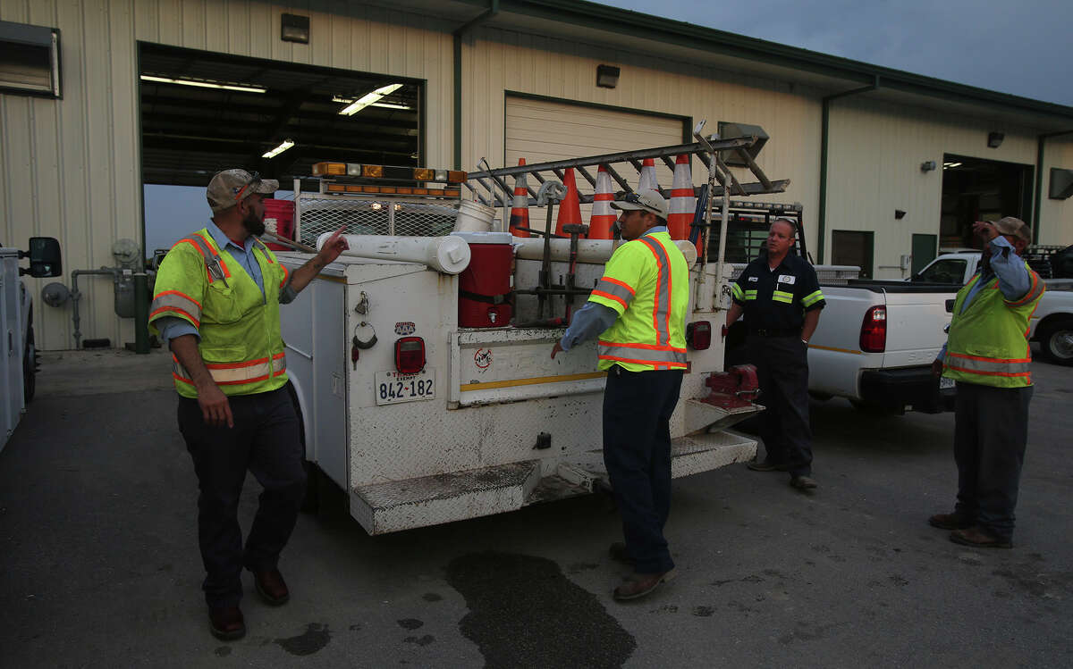 A water utility crew with from Universal City gets ready to head out for a day's work Friday July 31, 2015. Universal City has earned the title of having the best tasting water in Texas and second best tasting in the nation by the American Water Works Association.