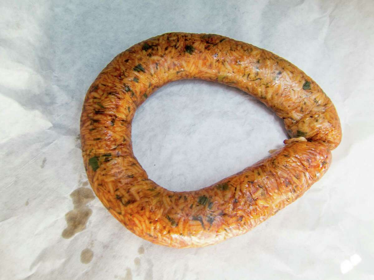Spicy smoked boudin from Burt's Meat Market in Houston. Burt's makes several varieties of boudin with chicken, beef and even seafood. Spicy smoked boudin
