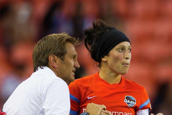 Houston Dash's  Ella Masar (30) speaks to the head coach Randy Waldrum during a game against FC Kansas City. ( Marie D. De Jesus / Houston Chronicle )
