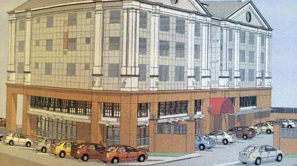 An architectural rendering of the proposed Phoenix Towers to be built at 434-56 Howe Ave. in Shelton, Conn. has been filed by Joseph Matto with the panning and Zoning Commission. The building would replace the four-story structure that collapsed during a January, 2014 fire. A public hearing on the proposed building will be held Aug. 11 at 7 p.m.