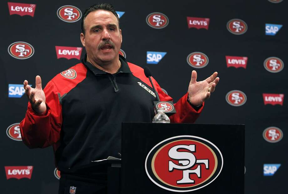 In this file image, head coach Jim Tomsula meets with reporters at Levi's Stadium in Santa Clara, Calif. on Friday, July 31, 2015. Photo: Paul Chinn, The Chronicle
