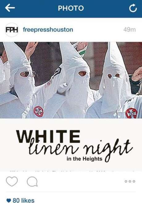 "Free Press Houston posted this photo on the eve of the Heights' ""White Linen Nights"" event on July 31, 2015."