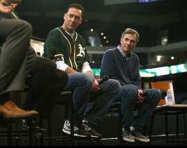 Oakland Athletics' Manager Bob Melvin and General Manager Billy Beane during a Q&A session during Fan Fest at Oracle Arena in Oakland, Calif. on Sunday, February 8, 2015.