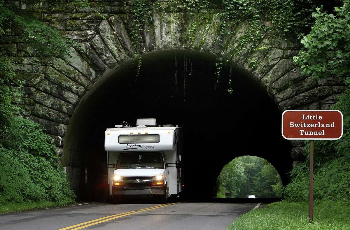 A motorist emerges from the Little Switzerland tunnel on the Blue Ridge Parkway.
