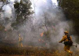 Cal Fire firefighters move in to keep the blaze on the south side as it crept near Morgan Valley Road during the Rocky fire as it continued to burn in Lake County July 31, 2015 near Lower Lake, Calif.