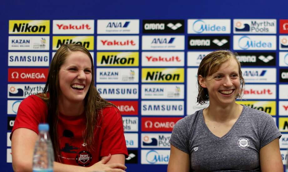 Missy Franklin (left) and Katie Ledecky meet with reporters at the world championships in Kazan, Russia. Photo: Streeter Lecka, Getty Images