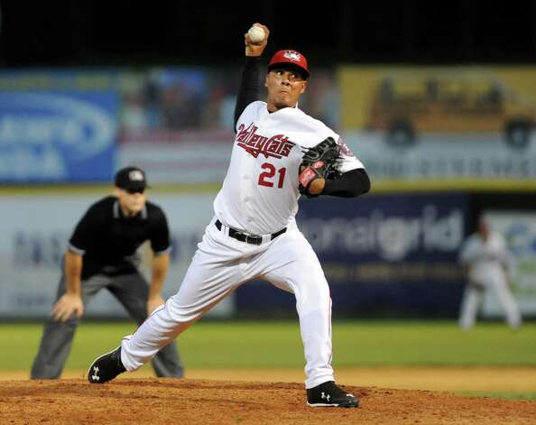 ValleyCats' Harold Arauz winds up a pitch during their baseball game against the Scrappers on Friday, July 31, 2015, at Joe Bruno Stadium in Troy, N.Y. (Cindy Schultz / Times Union) Photo: Cindy Schultz / 00032767A