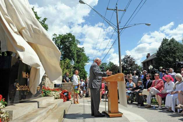 "Congressman Paul Tonko speaks during the unveiling of the  ""Native Dancer"" statue at Congress Park's Centennial Park on Saturday Aug. 1, 2015 in Saratoga Springs, N.Y. The statue was donated by by MaryLou Whitney and John Hendrickson and created by equine artist Gwen Reardon. (Michael P. Farrell/Times Union) Photo: Michael P. Farrell / 10032851A"