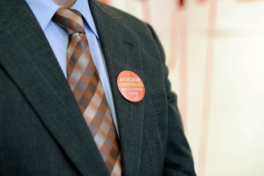 Mayor Ed Lee wears a button showing his support for Julie Christensen during a kick-off celebration for Christensen's district-3 supervisor re-election campaign, in San Francisco, CA Saturday, August 1, 2015. Photo: Michael Short, Special To The Chronicle