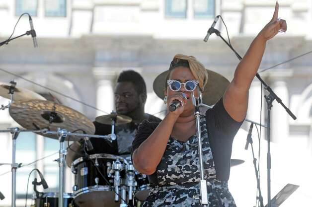 Singer Amber Bullock performs during the Black Arts and Cultural Festival at the Empire State Plaza on Saturday Aug. 1, 2015 in Albany, N.Y. (Michael P. Farrell/Times Union) Photo: Michael P. Farrell / 10032814A