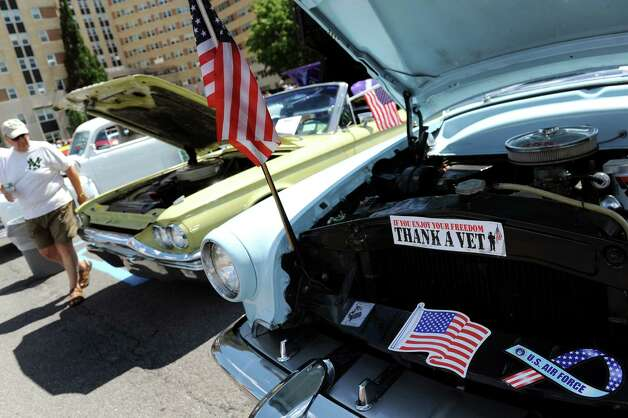 Classic cars are on display during the 6th Annual Honor Our Vets Car Show on Saturday, Aug. 1, 2015, at Stratton VA Medical Center in Albany, N.Y. (Cindy Schultz / Times Union) Photo: Cindy Schultz / 10032823A