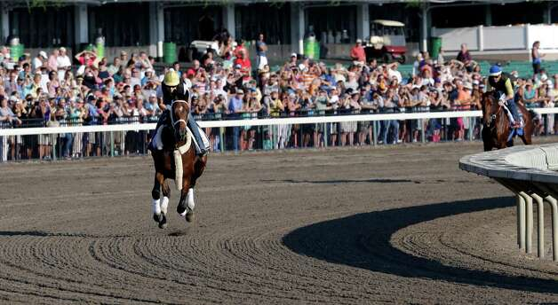 In front of a large crowd of fans, Top Clearance, left, with Calamity Compton up leads Triple Crown winner American Pharoah with Jorge Alvarez up through at Monmouth Park in Oceanport, N.J., Saturday, Aug. 1, 2015, a turn as they train for Sunday's running of the Haskell Invitational horse race. (AP Photo/Mel Evans)   ORG XMIT: NJME103 Photo: Mel Evans / AP
