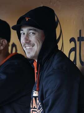 San Francisco Giants pitcher Tim Lincecum sits in the dugout during the first inning of a baseball game against the Milwaukee Brewers in San Francisco, Monday, July 27, 2015. (AP Photo/Jeff Chiu)
