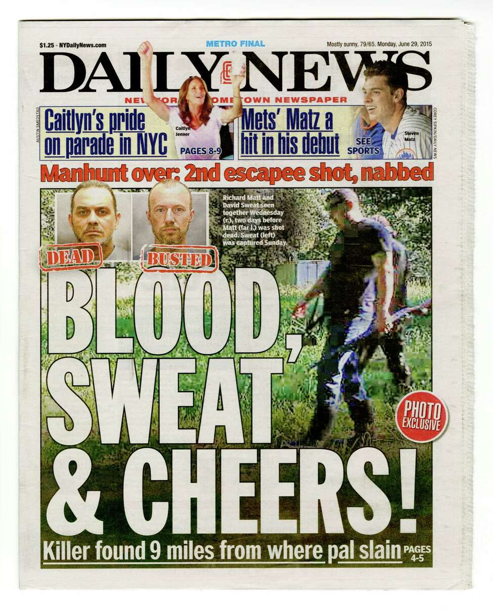 The New York Daily News Metro Edition on Monday, June 29, misidentified Eric Couture and Charlie Coutu (seen in the surveillance camera image at right) as Dannemora escapees Richard Matt and David Sweat.