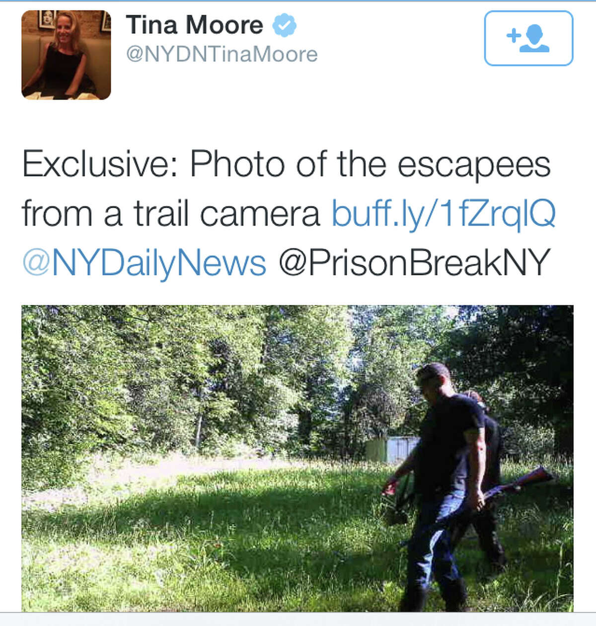 A June 28 tweet from the Daily News' Tina Moore proclaims an