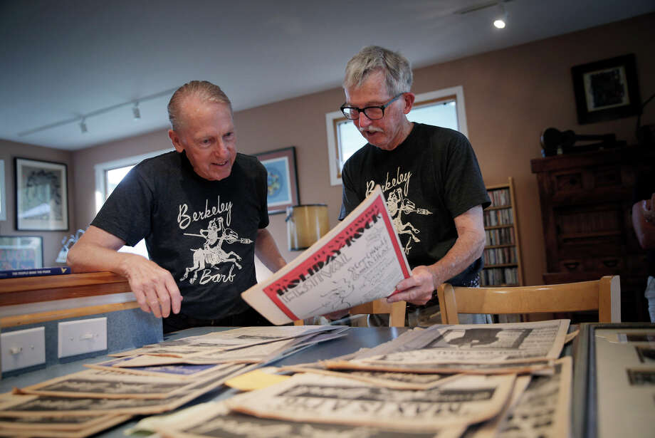 Below: Gar Smith (left) and John Jekabson look over old Barb issues. The staff rebelled against the newspaper's miserly founder, and the sexism was unrestrained, but the Barb broke new ground. Photo: Carlos Avila Gonzalez / Carlos Avila Gonzalez / The Chronicle / ONLINE_YES