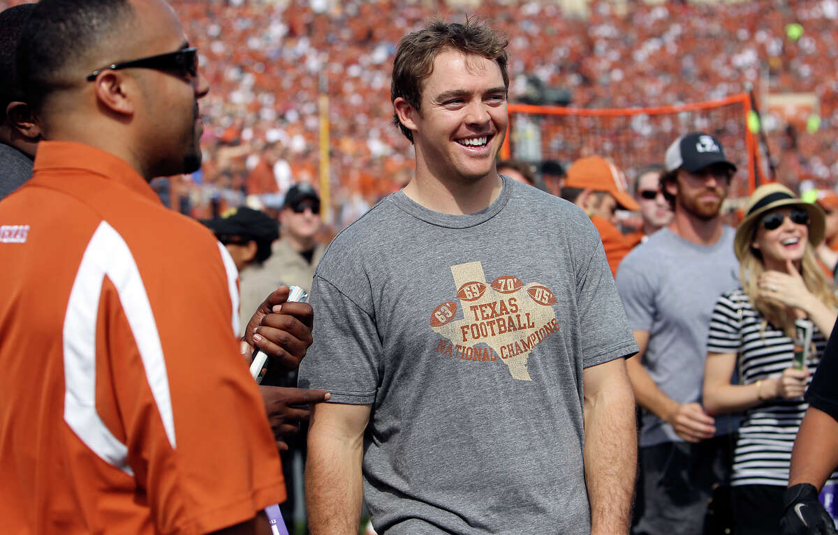 Former Texas Longhorns quarterbackColtMcCoymakes an appearance at the game against Iowa State at Darrell K. Royal Stadium in Austin on Saturday, Nov. 10, 2012.