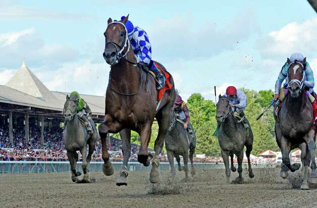 Holy Boss with jockey Ricardo Santana Jr. wins the 23rd running of The Amsterdam Saturday afternoon Aug. 1, 2015 at the Saratoga Race Course  in Saratoga Springs, N.Y.      (Skip Dickstein/Times Union) Photo: SKIP DICKSTEIN
