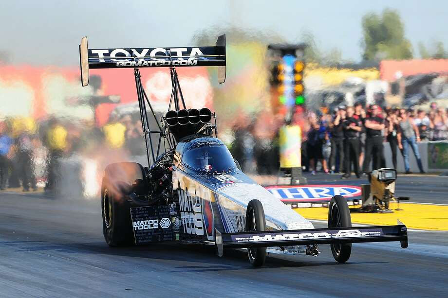 Antron Brown was the top qualifier in Top Fuel racing during the NHRA Nationals at Sonoma Raceway on Saturday, August 1, 2015. Photo: Nate Jacobson, Sonoma Raceway