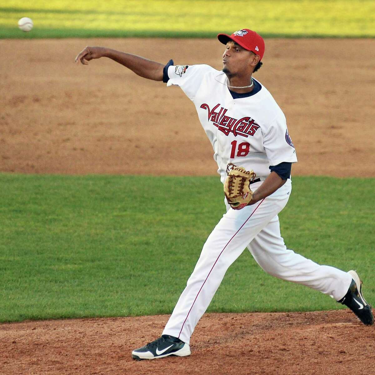 Tri-City ValleyCats' Yeyfry Del Rosario comes in to pitch in relief of starter Zac Person during Saturday's game against the Mahoning Valley Scrappers at Joe Bruno Stadium August 1, 2015 in Troy, NY. (John Carl D'Annibale / Times Union)