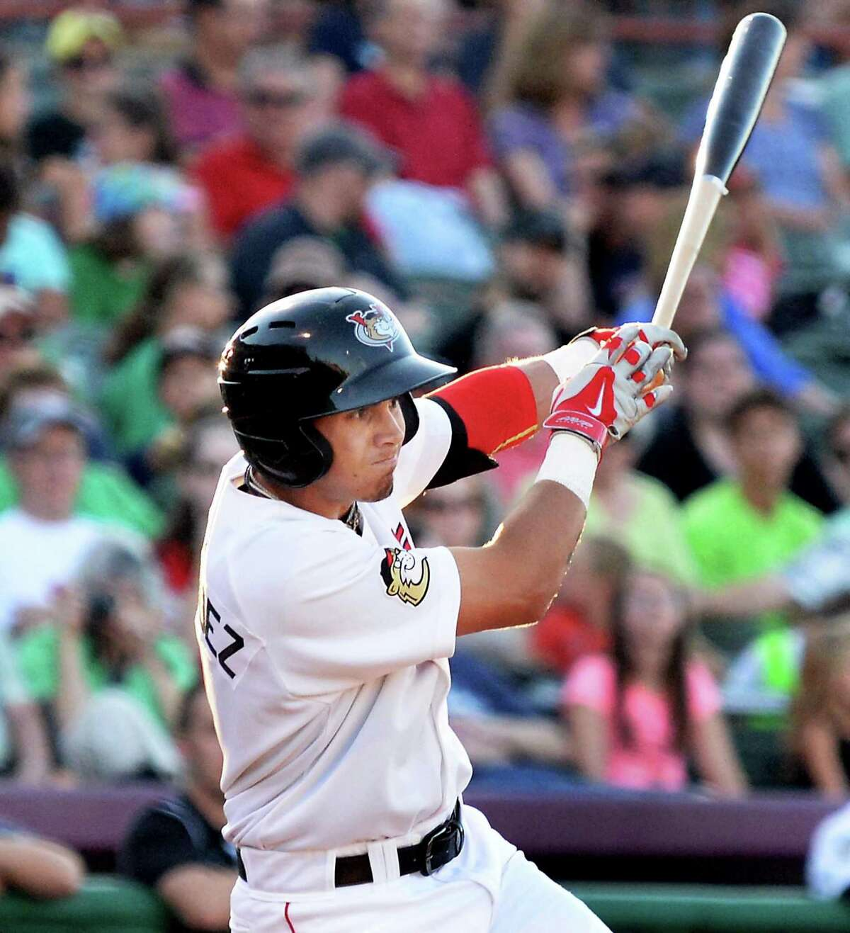 Tri-City ValleyCats lead off batter Alexander Melendez singles during Saturday's game against the Mahoning Valley Scrappers at Joe Bruno Stadium August 1, 2015 in Troy, NY. (John Carl D'Annibale / Times Union)
