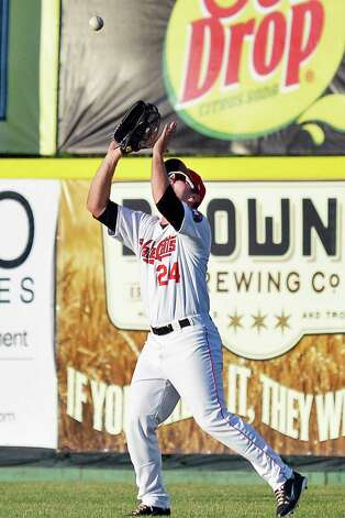 Tri-City ValleyCats outfielder Pat Porter catches a Mahoning Valley Scrappers' Willi Castro fly ball for an out during Saturday's game at Joe Bruno Stadium August 1, 2015 in Troy, NY.  (John Carl D'Annibale / Times Union) Photo: John Carl D'Annibale / 00032768A