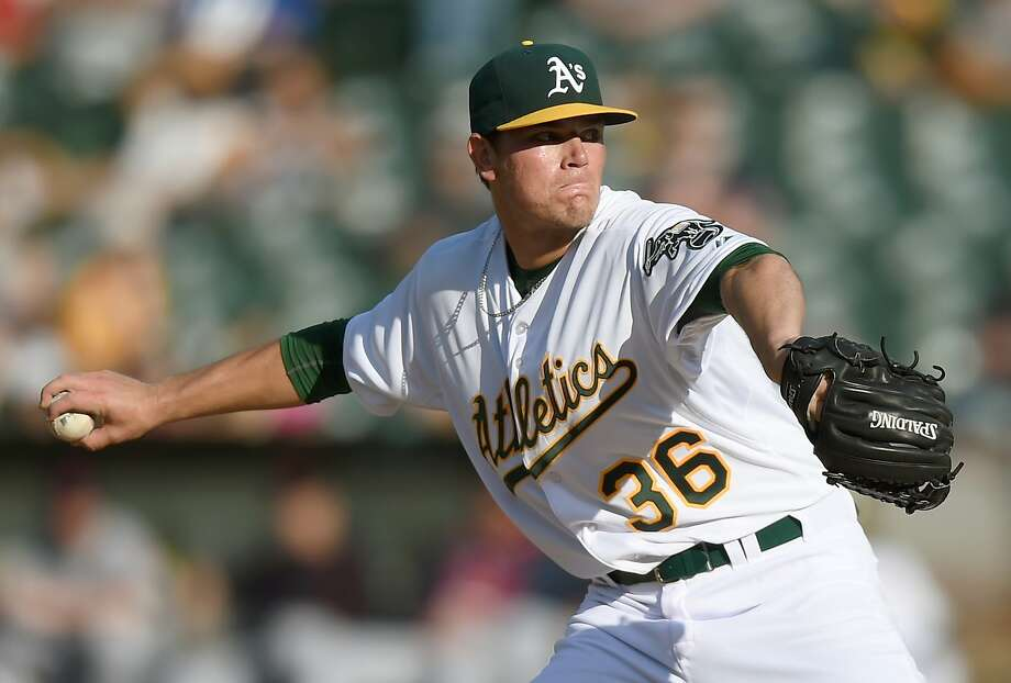 OAKLAND, CA - AUGUST 01:  Aaron Brooks #36 of the Oakland Athletics pitches against the Cleveland Indians in the top of the first inning at O.co Coliseum on August 1, 2015 in Oakland, California.  (Photo by Thearon W. Henderson/Getty Images) Photo: Thearon W. Henderson, Getty Images