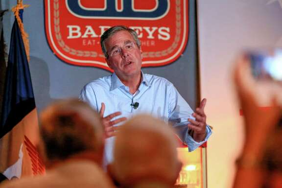 Republican presidential candidate, former Florida Gov. Jeb Bush answers questions during a meet and greet event in Council Bluffs, Iowa.