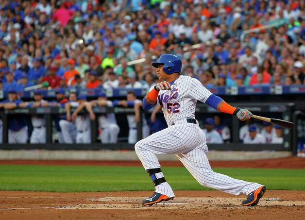 NEW YORK, NY - AUGUST 1: Yoenis Cespedes #52 of the New York Mets grounds out to third base in his first at bat  during the second inning against the Washington Nationals on August 1, 2015 at Citi Field in the Flushing neighborhood of the Queens borough of New York City. (Photo by Rich Schultz/Getty Images) ORG XMIT: 538587921 Photo: Rich Schultz / 2015 Getty Images