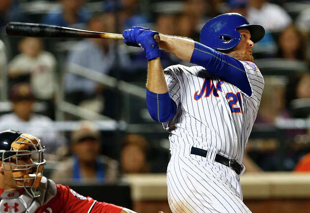 NEW YORK, NY - AUGUST 1: Lucas Duda #21 of the New York Mets hits a home run during the seventh inning against the Washington Nationals on August 1, 2015 at Citi Field in the Flushing neighborhood of the Queens borough of New York City. (Photo by Rich Schultz/Getty Images) ORG XMIT: 538587921 Photo: Rich Schultz / 2015 Getty Images
