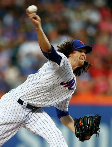 NEW YORK, NY - AUGUST 1: Pitcher Jacob deGrom #48 of the New York Mets delivers a pitch during the first inning against the Washington Nationals on August 1, 2015 at Citi Field in the Flushing neighborhood of the Queens borough of New York City. (Photo by Rich Schultz/Getty Images) ORG XMIT: 538587921 Photo: Rich Schultz / 2015 Getty Images