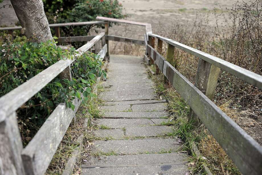 The Prague St. steps are sunken and dilapidated and in need of repair at Crocker Amazon park in San Francisco, CA Saturday, August 1, 2015. Photo: Michael Short, Special To The Chronicle