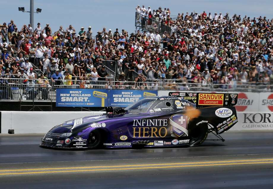 Jack Beckman and his Infinite Hero Dodge easily won an elimination race. The final elimination races in the NHRA Sonoma Nationals drag races Sunday August 2, 2015. Photo: Brant Ward, The Chronicle