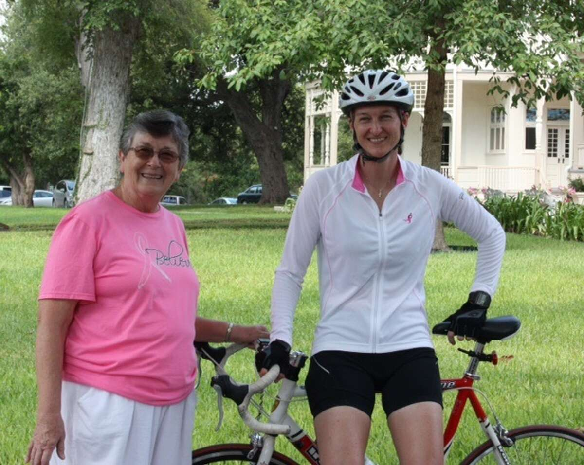 Left to right: Sister Margaret Snyder and Incarnate Word High School athletic director, April Fricke after the finish of their 2014 Sisters' Trail.